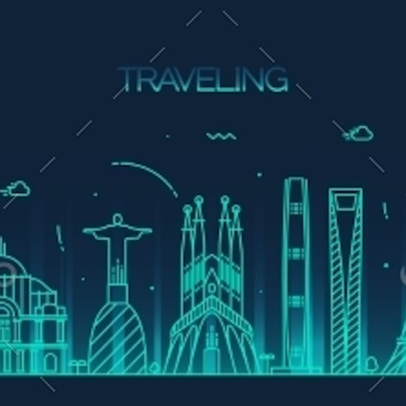 Traveling Background Skyline Detailed Silhouette