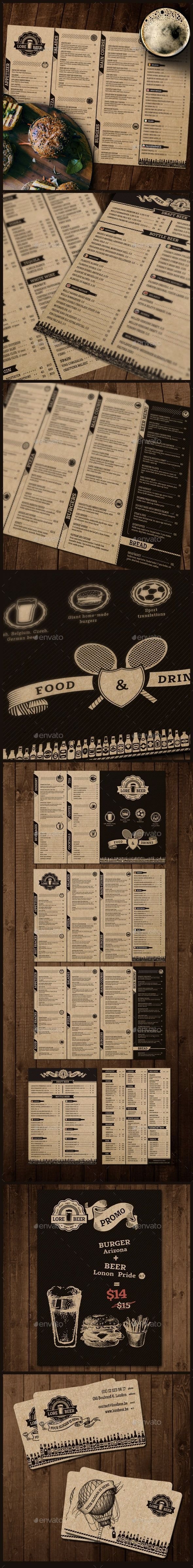Lore Beer Pub - Food Menus Print Templates