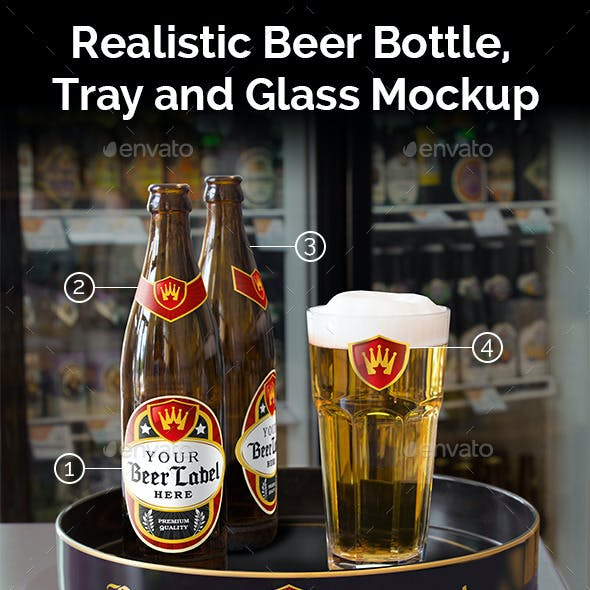 Realistic Beer Bottle, Tray and Glass Mockup