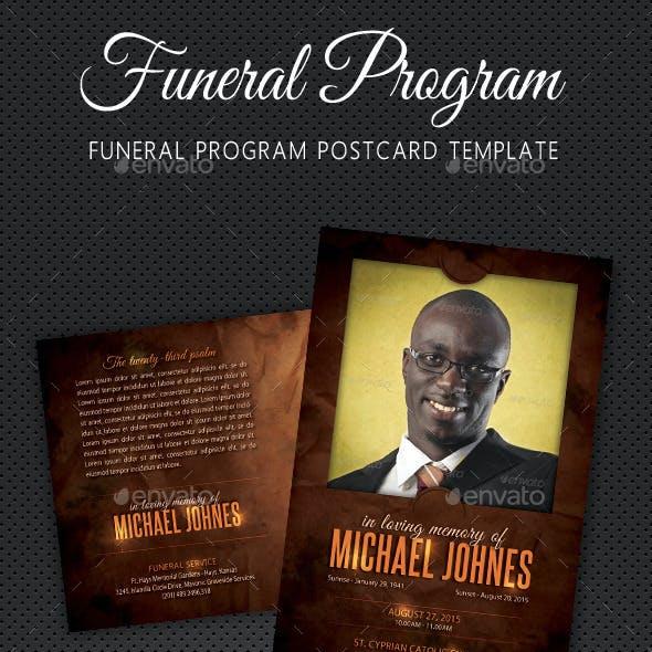 Funeral Program Postcard Template V01