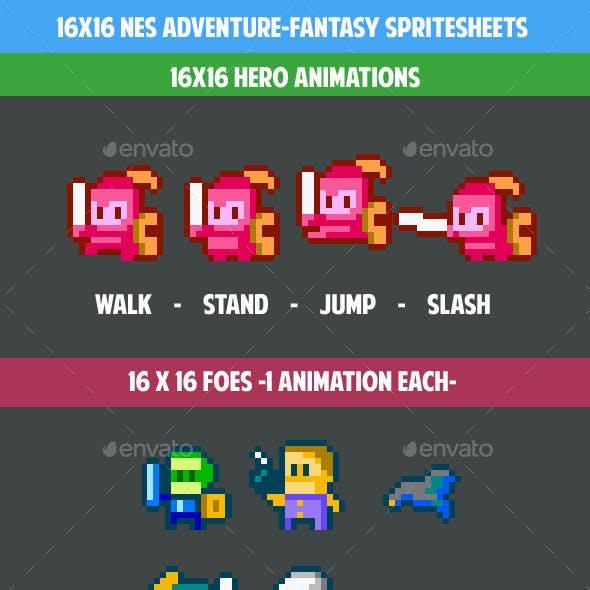 16x16 Nes adventure fantasy gamepack (spritesheets