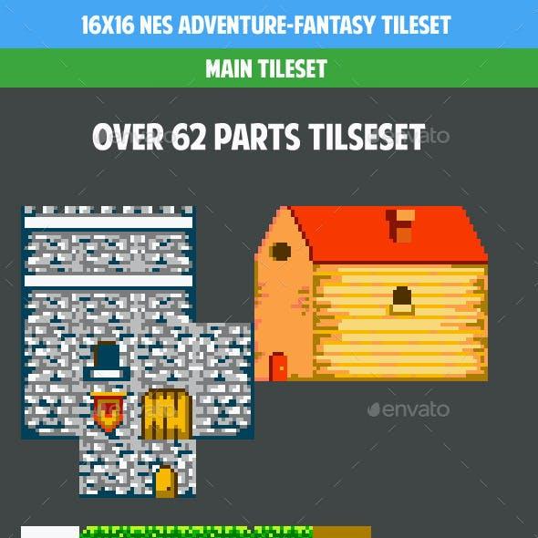 16x16 Nes adventure fantasy gamepack (tileset)