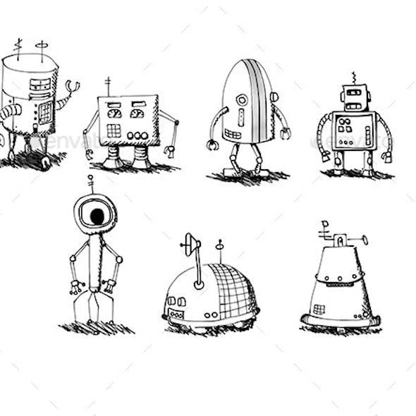 Hand Drawn Robots