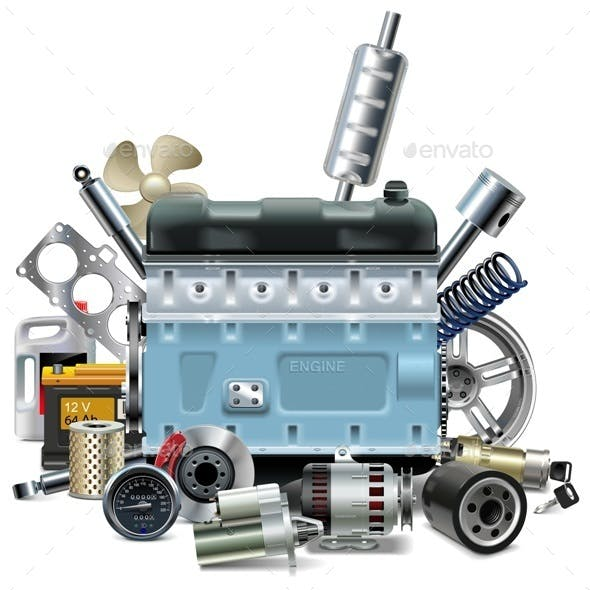 Engine with Car Spares