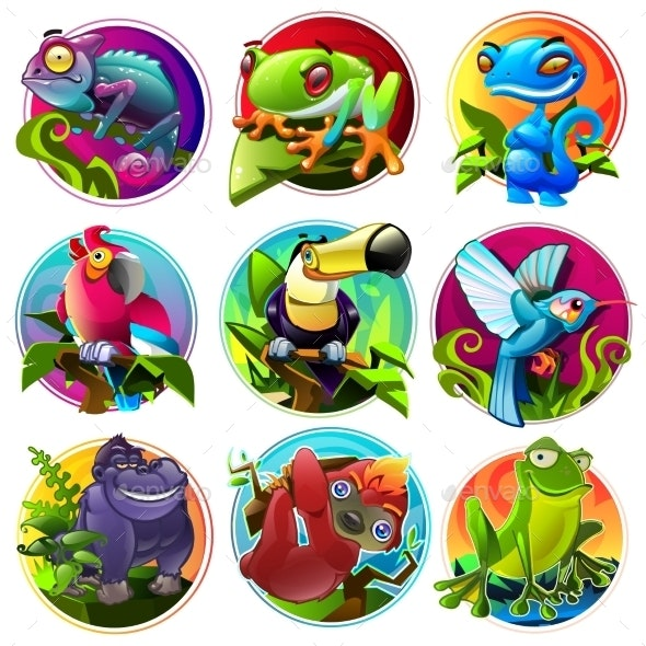 Cartoon Tropical Animals - Animals Characters