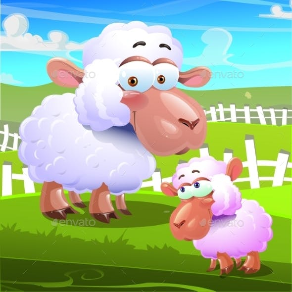 Two Sheep Cartoons on Farm Background
