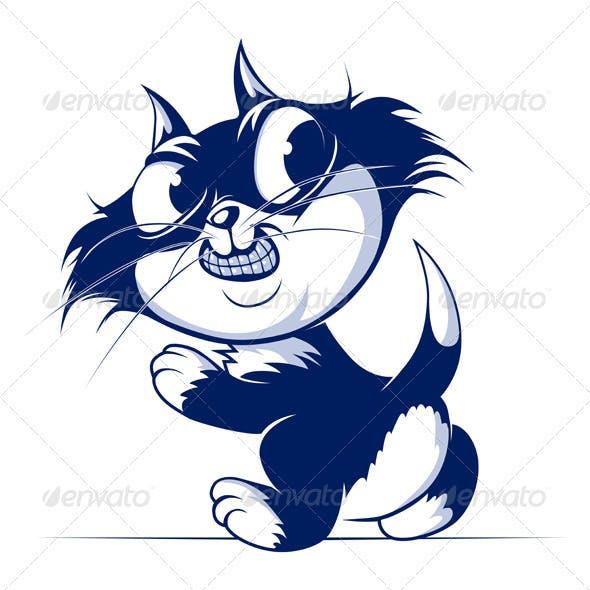 Cartoon Cat Smile Walk