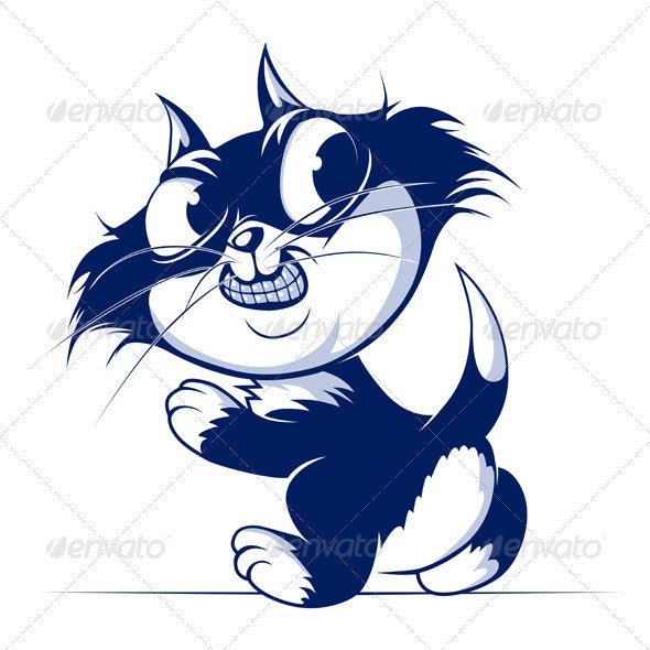 Cartoon Cat Smile Walk - Animals Characters
