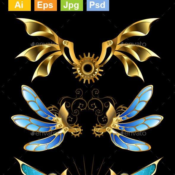 Set of Steampunk Wings