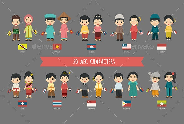 Boys and Girls in Traditional Costume - People Characters