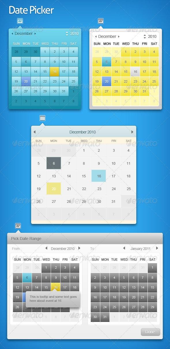 Sleek Date Pickers - Miscellaneous Web Elements
