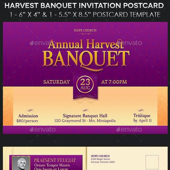 Harvest Banquet Invitation Postcard Template