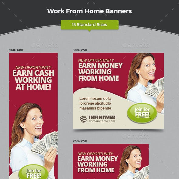 Work From Home Banners