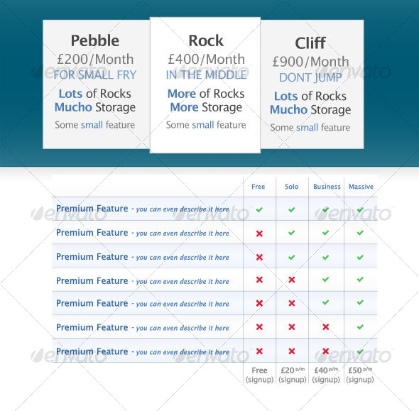 Pricing tables - Web Elements