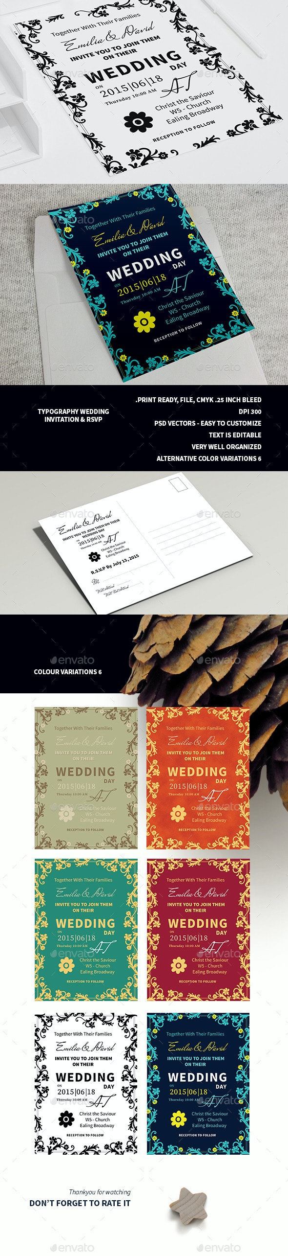 Typography Wedding Invitation & RSVP  - Weddings Cards & Invites