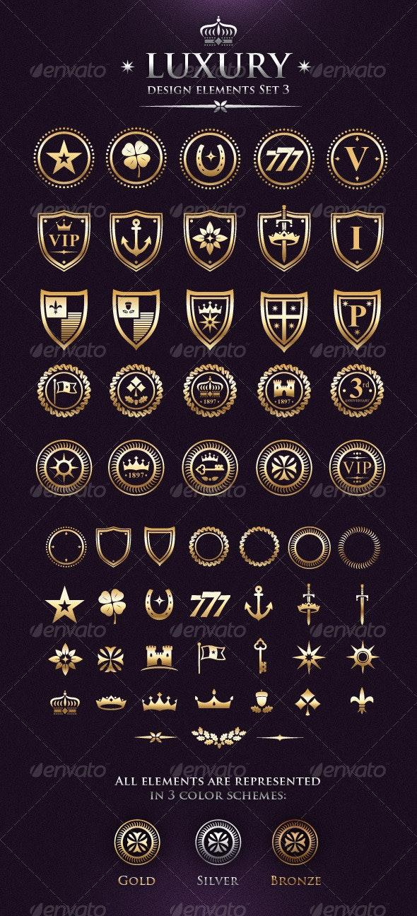 Vector Luxury VIP Design Elements Set 3 - Decorative Symbols Decorative