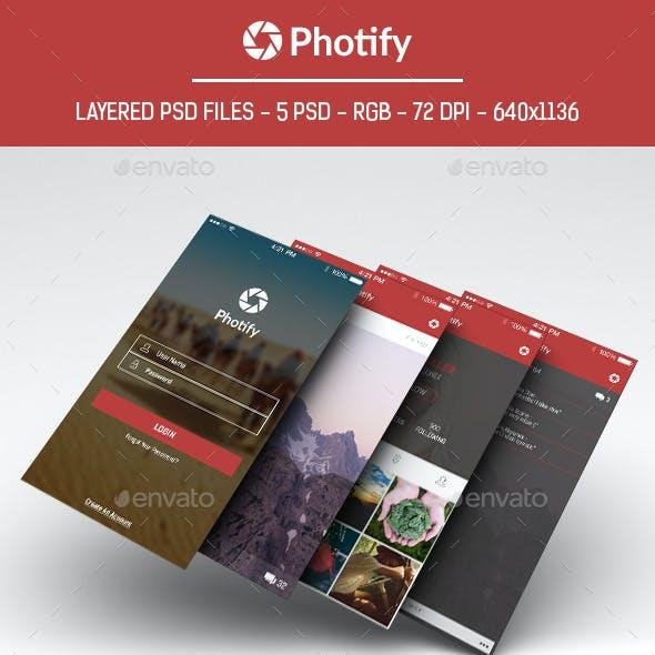 Photify - Photo Sharing App UI Design