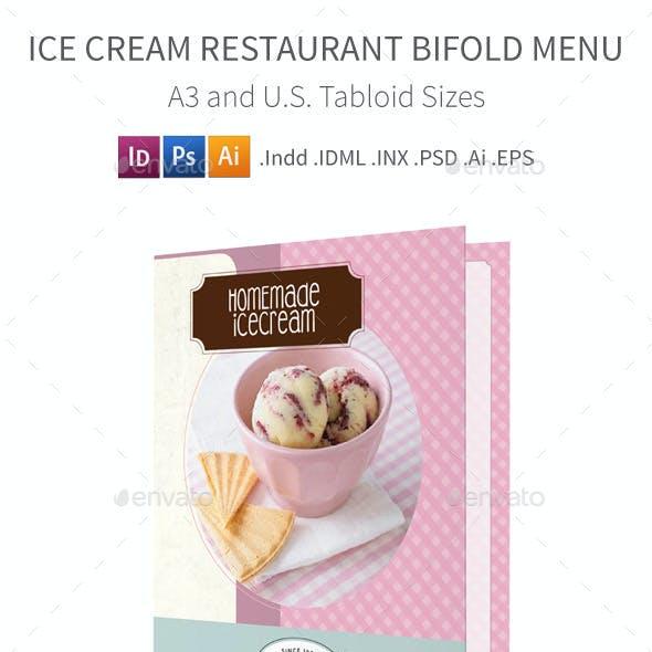 Ice Cream Restaurant Bifold / Halffold Menu