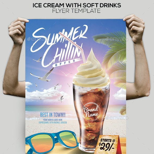 Ice Cream with Soft Drink Offer Poster