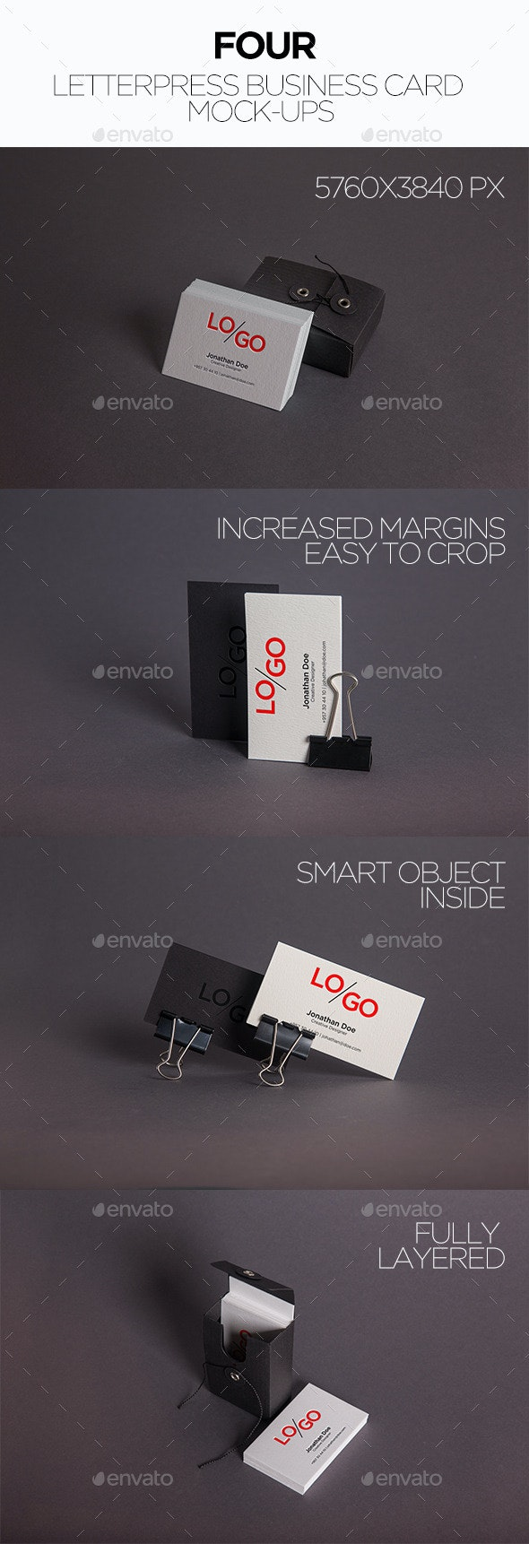 4 Letterpress Business Card Mockups - Business Cards Print