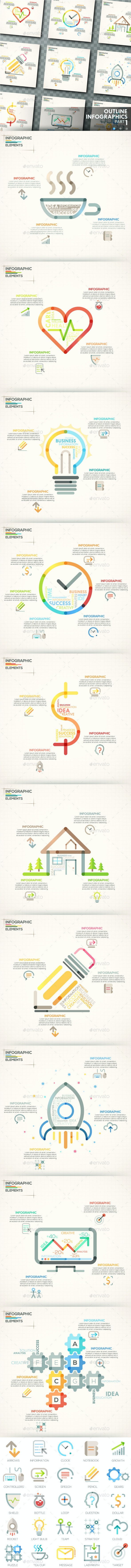 Outline Infographics. Part 1 (+25 Icons) - Infographics