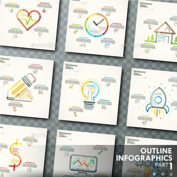 Outline Infographics. Part 1 (+25 Icons)