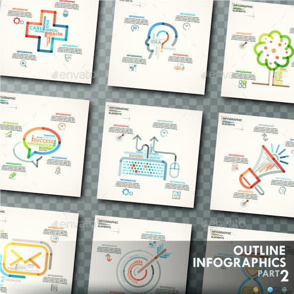 Outline Infographics. Part 2 (+25 Icons)