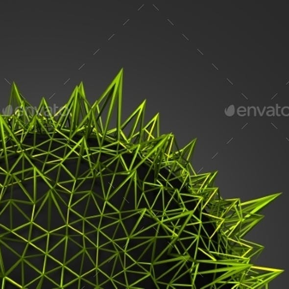 Abstract 3D Rendering Of Green Chaotic Structure