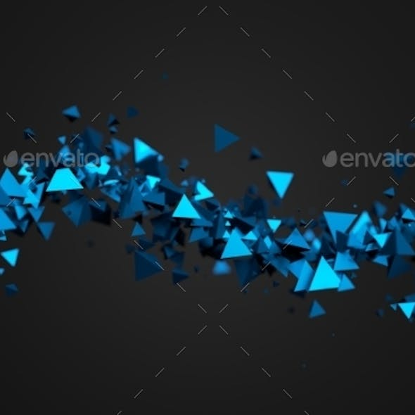 Abstract 3D Rendering Of Flying Pyramids