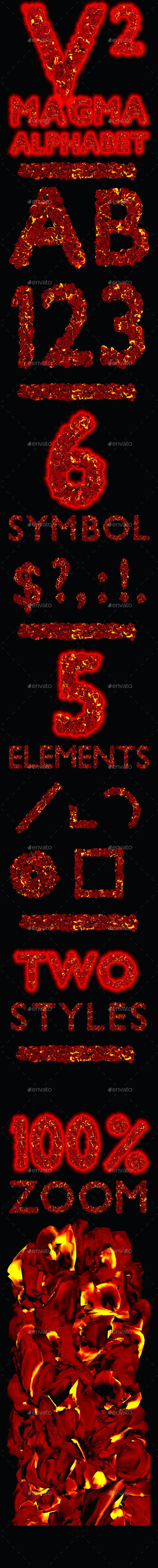 Magma Alphabet - Text 3D Renders