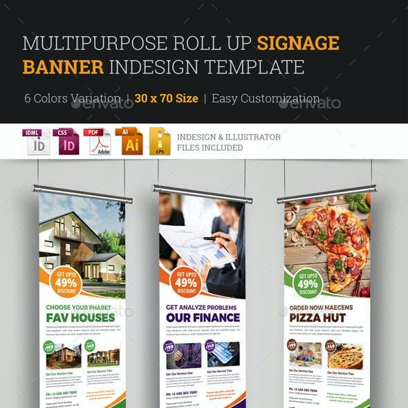 Multipurpose Roll Up Banner Signage InDesign