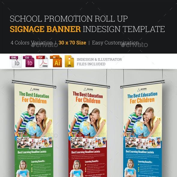 School Promotion Roll Up Banner Signage InDesign
