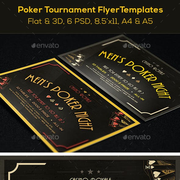 Poker Mag. Ad, Poster or Flyer – Flat & 3D - 6 PSD