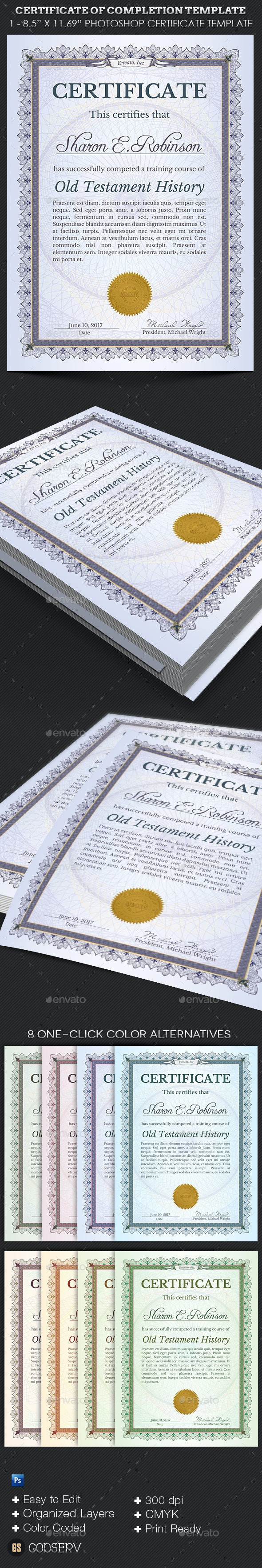 Certificate of Completion Template - Certificates Stationery