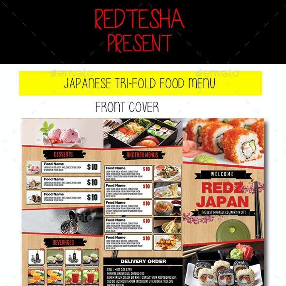 JAPANESE TRI-FOLD FOOD MENU