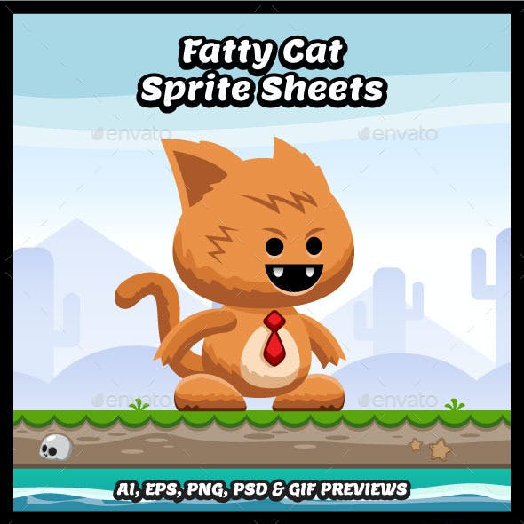 Fatty Cat Game Character Sprite Sheets