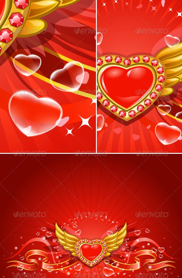 Winged flying golden hearts 3 - Backgrounds Decorative