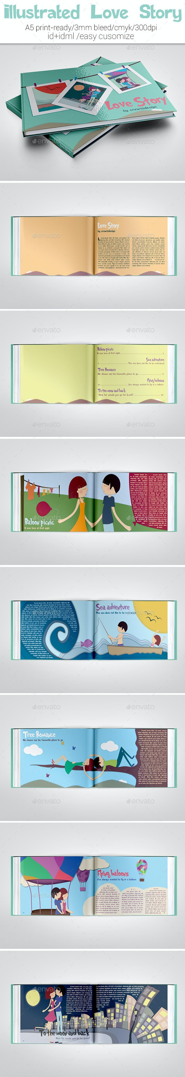 Illustrated Love Story Template - Miscellaneous Print Templates