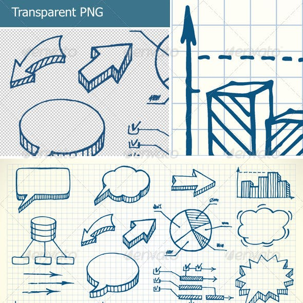 Hand-drawn finance illustration set