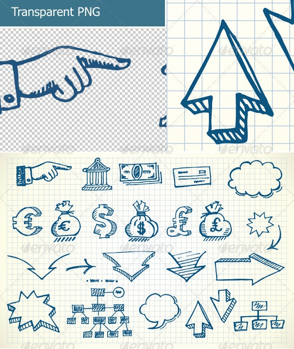 Hand-drawn currency illustration set - Concepts Business