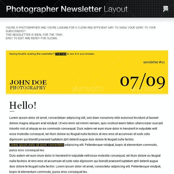 Photographer Newsletter Layout