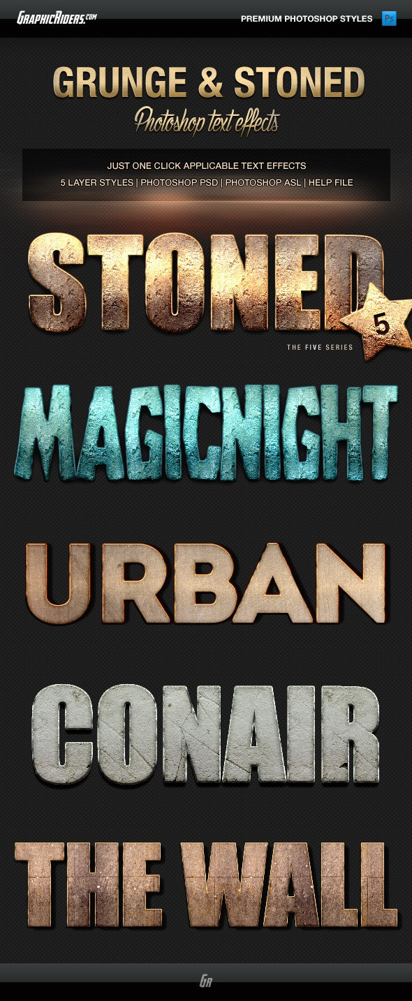 Various Text Effects Vol.1 - Grunge and Stoned - Text Effects Styles