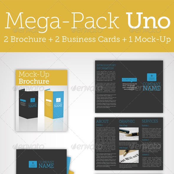 Mega Pack Uno / Brochure + Business Card + Mock Up