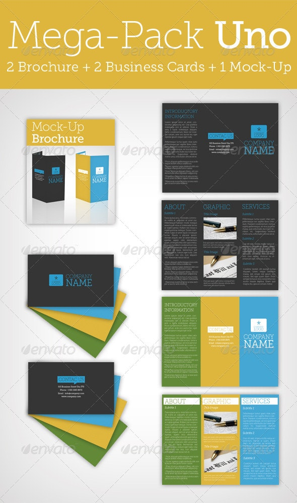 Mega Pack Uno / Brochure + Business Card + Mock Up - Miscellaneous Print Templates