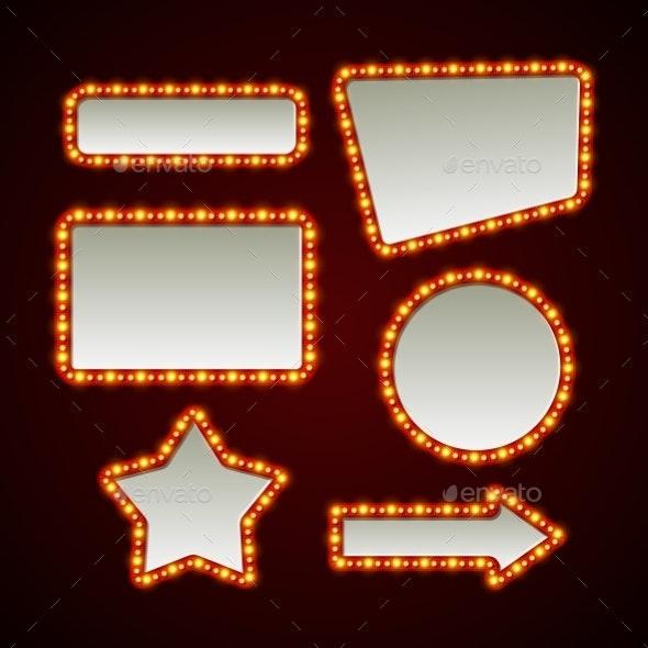 Set of Retro Light Frames - Web Elements Vectors