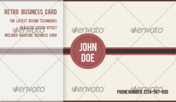 Retro Stitched Business Card - Retro/Vintage Business Cards