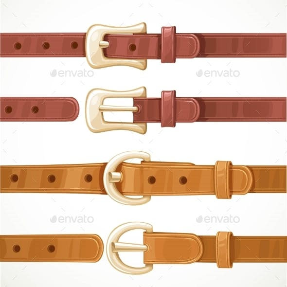 Leather Belts With Buckles Buttoned And Unbuttoned