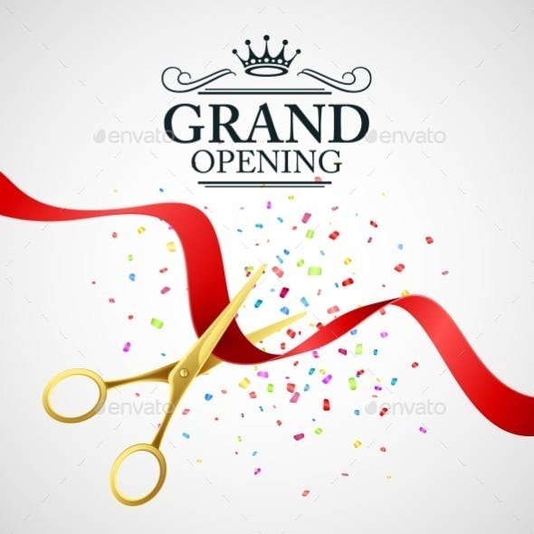 Grand Opening Illustration with Red Ribbon