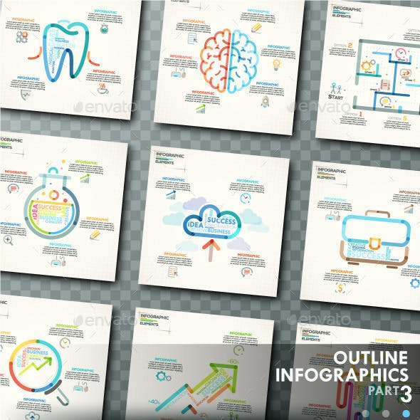 Outline Infographics. Part 3 (+25 Icons)