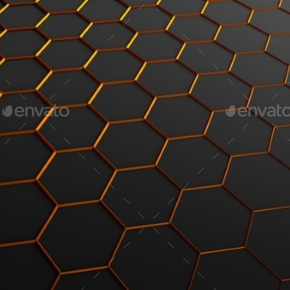 Abstract 3D Rendering Of Surface With Hexagons